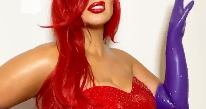 Pregnant Ashley Graham Used Baby Powder to 'Squeeze' Into Red Latex for Jessica Rabbit Halloween Costume